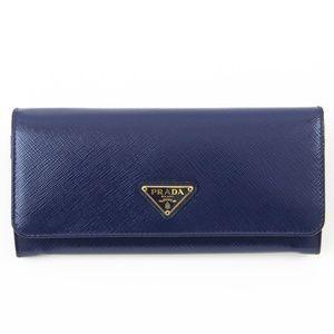 Prada Saffiano Blue Continental Wallet
